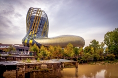 The relatively newly opened Wine Museum in Bordeaux on a rainy day